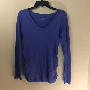 Isabel Maternity Long Sleeve Blue Tee Shirt